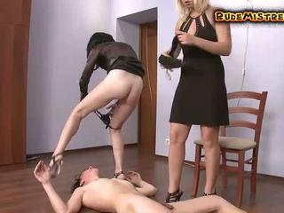 Guy brutal dominated av two mistresses