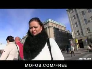 Shy & sexy Czech brunette is paid for some HOT public sex
