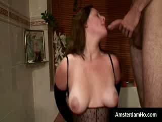Bigtit Dutch broad gets used by two hunky foreigners in Bath room