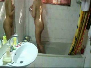 Pakistani teenage babe bathing in bath...