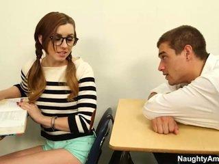 studente, ragazza, magro