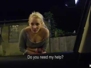 Blonde amateur girl hitchhike and railed
