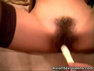 Stockinged asiatico dildoed e scopata