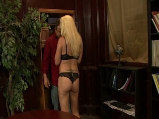 Hot naughty blonde milf gets cock in l...