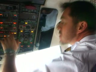 Cute stewardess in sexy uniform love to suck