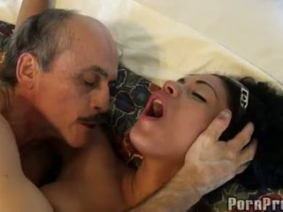 Janine Valentine Fucked By A Horny Old Guy On Soft Sofa