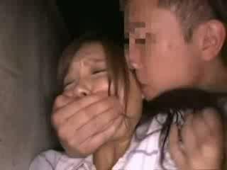 Shocked babegirl groped i backyard