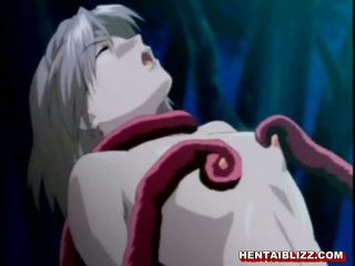 Japanese hentai cutie caught and hot drilled by tentacles