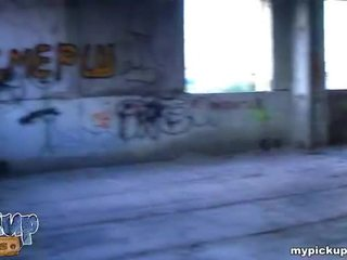 Girl fucked at ruined building and gets her cool breast covered with cum Video
