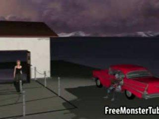 3D Cartoon Redhead Gets Fucked Hard By A Zombie