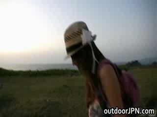 Akina Lovely asian Babe enjoys outdoors