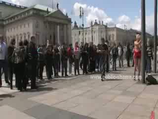 Blonde woman sex slave undressed in public then fucked in rough public sex