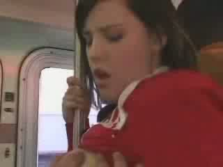 Sexy student entered im falsch bus video