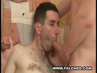 Homo Threesome Felching Cum From Ass To Mouth