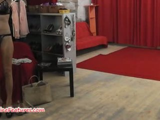 Backstage interview and striptease by milf