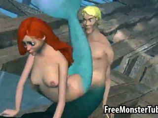 3D Little Mermaid babe Ariel gets fucked hard