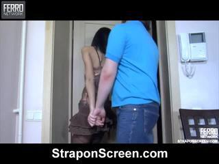Udud hot irene, connor, cora performing for strapon screen