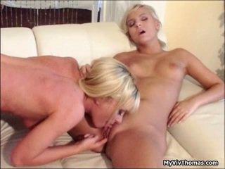 Cute Lesbian Blonde Babes Enjoy A Big
