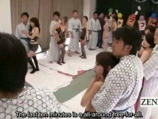 Subtitled dámské spodní prádlo clad japonská av hvězdy shuffle orgie