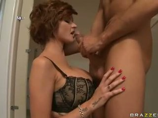 Cock starved bitch Joslyn James sips in a fat man straw and loves it