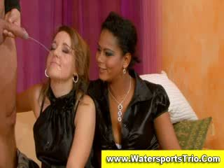 Fully clothed watersports থ্রিসাম