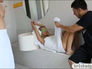 Tight Teen Girlfriend Blindfolded And Fucked In The Bathroom