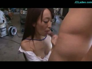 Office Lady On Her Knees Giving Blowjob Cum To Mouth Spitting To Palm In The Workshop