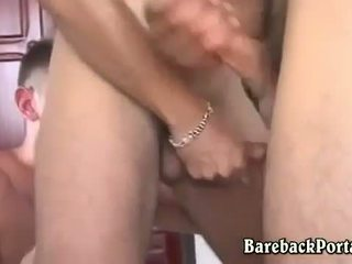 Hung bareback threesome