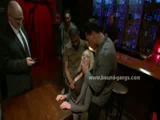 Blondie forced to fuck bar mates in deep Rough mouth fuck and group anal sex