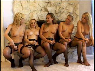 Lesbian strap-on gang