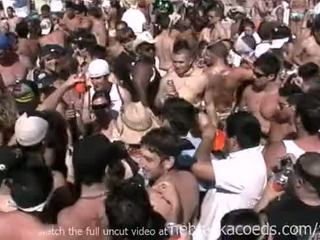 Insane spring break beach party with hot naked real girls