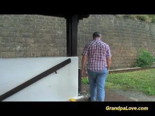 Old dude blackmails cute blonde slut for fuck