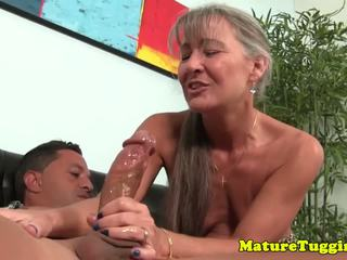 Tanlined Smalltitted Cougar Jerking Hard Cock: Free Porn e6
