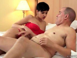 Teen and grandpa making love