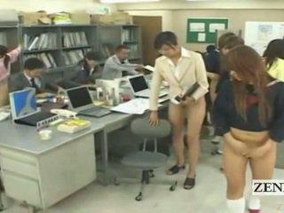 Subtitled आधा नग्न bottomless जपानीस स्कूल ऑफीस