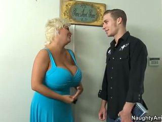 blondiner, stora bröst, cowgirl