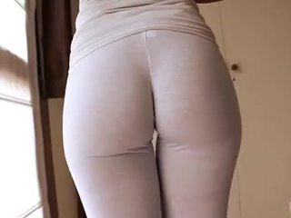 Gorgeous Latina Body! Wetting Her White Yoga Pants! Ass, Tits n Cameltoe