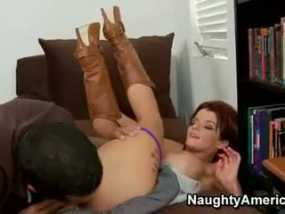 Red haired bitch Joslyn James thumps a massive dick in her mouth and loves it