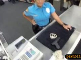 Big Boobs Police Officer Pawns Her Pussy For Money