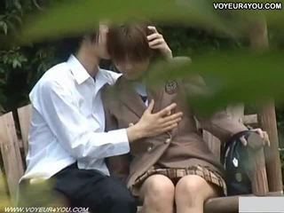 Asian couple outdoor sex captured by spy cam