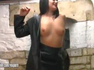 brunette, big boobs, leather