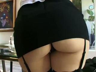 Sasha Grey In Black Stockings With Glasses (720)