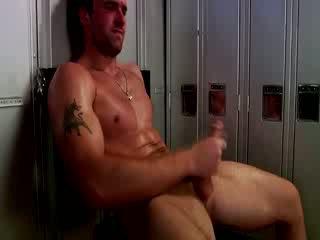 Handsome muscular jock masturbating