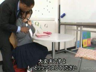 जपानीस स्कूलगर्ल gave हंडजोब