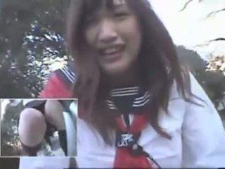 Jepang prawan nunggang a vibrating bicycle thru the city (public squirting)
