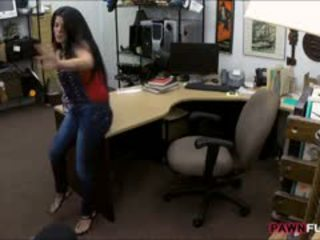 Busty Cuban Chick Sells Her TV And Fucked In The Backroom