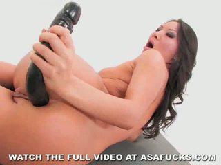 Asa akira goes analinis su a didelis juodas dildo