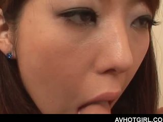 Erotic Asian school doll giving blowjob and getting boo