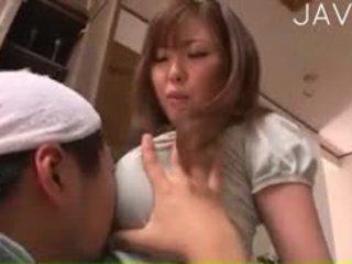 日本の, 巨乳, なめる