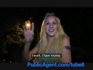 PublicAgent Young blonde with a beautiful pussy fucks outside